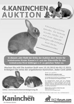 Plakat Kaninchenversteigerung 2015 Bundeskaninchenschau Kassel